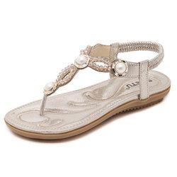 Large Size Beaded Rhinestone Clip Toe Elastic Slip On Sandals
