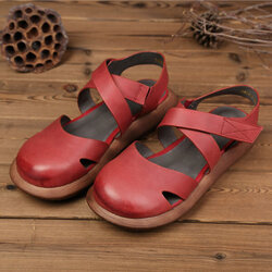 SOCOFY Hollow Out Pure Color Handmade Leather Retro Sandals