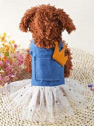 Denim Dress Fashion Pet Dog Clothes Leisure Dresses Shirt Skirt For Small Medium Dogs XS-XL