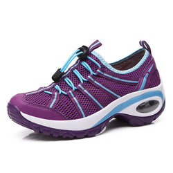 Mesh Elastic Platform Resistant Running Sport Sneakers For Women
