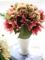 9 Heads Sunflower Carnations Artificial Flowers Plants Bouquet Bridal Party Wedding Home Decor