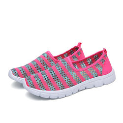 Large Size Stripe Mesh Breathable Flat Casual Soft Shoes