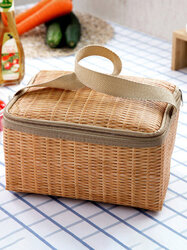 Imitation Rattan Brazier Bag Thickening Lunch Tote Bag Cooler Insulated Handbag Travel Picnic Bag