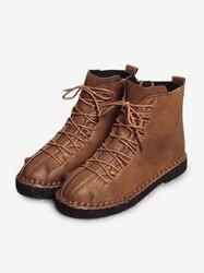 Stitching Vintage Zipper Boots
