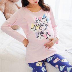 Breathable Cotton Front Open Nursing Sleepwear