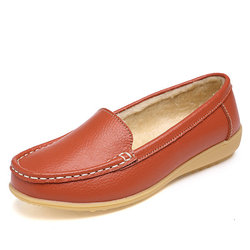 Fur Lining Leather Flats