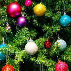 24pcs Glitter Christmas Ball Tree Hanging Decorative Ornamet