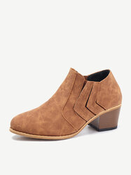 Stitching Block Vintage Ankle Boots
