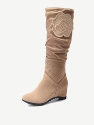 Large Size Flower Hidden Heel Knight Boots