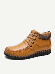 Soft Leather Stitching Shoes