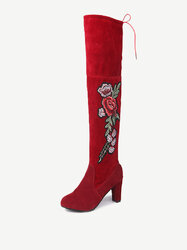 Large Size Embroidery Flower Boots