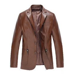 Chest Pocket Faux Leather Blazers Jacket