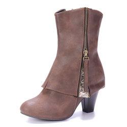 Large Size Zipper Lace Boots