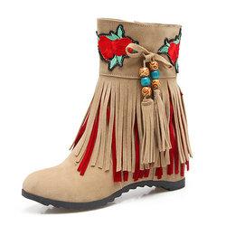 Large Size Tassel Flower Boots