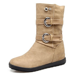 Large Size Metal Buckle Boots