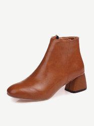 Stacked Heel Zipper Boots