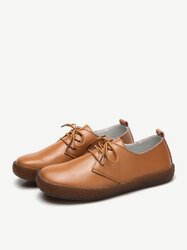 Soft Leather Flat Shoes