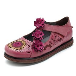SOCOFY Orchis Soft Flat Leather Shoes