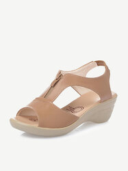 Large Size Front Zipper Wedges Sandals