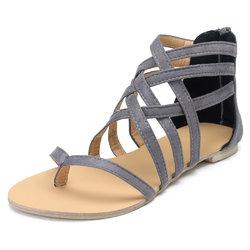 Clip Toe Zipper Lady Flat Sandals