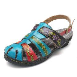 SOCOFY Handmade Leather Adjustable Sandals