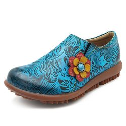 SOCOFY Handmade Retro Flat Casual Leather Shoes