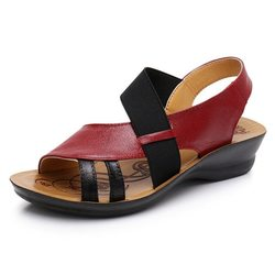 Hollow Out Elastic Band Leather Sandals
