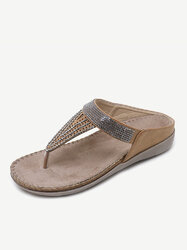 Large Size Rhinestone Backless Sandals