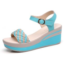 Knitting Leather Solid Buckle Sandals