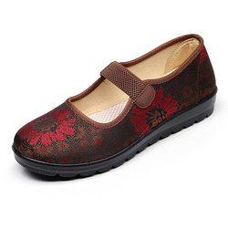 Flower Vintage Cloth Elastic Loafers