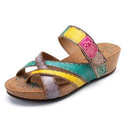 SOCOFY Bohemian Slip On Soft Flat Leather Sandals