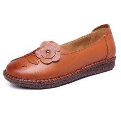 Soft Flower Leather Flat Loafers