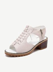 Hollow Zipper Block Sandals