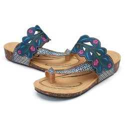 SOCOFY Forest Adjustable Leather Comfortable Flat Sandals