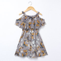 Butterfly Off Shoulder Girls Printed Dress
