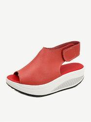 Hook Loop Rocker Sole Platform Sandals