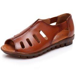 SOCOFY Retro Leather Soft Flat Sandals