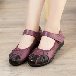 SOCOFY Retro Leather Soft Flat Sandals
