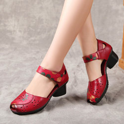 SOCOFY Retro Leather Hollow Out Sandals