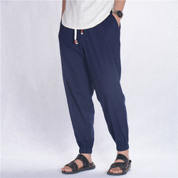 Breathable Cotton Linen Drawstring Casual Pants