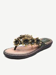 Flower Leather Flip Flops