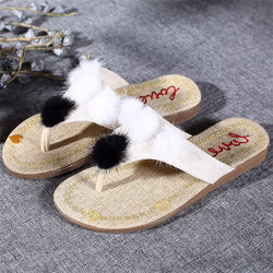 Furry Ball Clip Toe Sandals