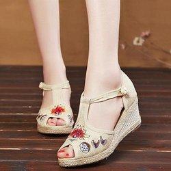 Folkways Wedges Canvas Sandals