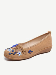 Frog Buttons Flower Casual Flat Loafers