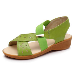 Hollow Out Leather Wedges Sandals