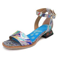 SOCOFY Milky Way Bucke Hook Loop Leather Shinee Sandals