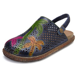 SOCOFY Handmade Retro Casual Leather Flat Sandals