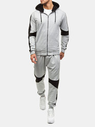 Mens Casual Patchwork Hooded Sport Suit