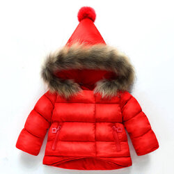 Category: Dropship Kids & Mom, SKU #SKUA51300, Title: Girls Thick Coat With Fur Hat For 1Y-9Y