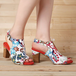 Fancy Flowers Leather Sandals